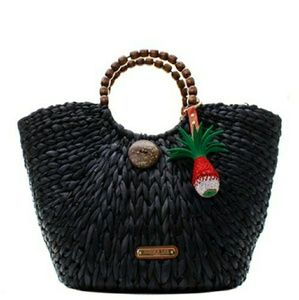 NICOLE LEE BLACK BRAIDED STRAW HANDBAG!